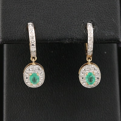 14K Yellow Gold Huggie Earrings with Diamond and Emerald Drops