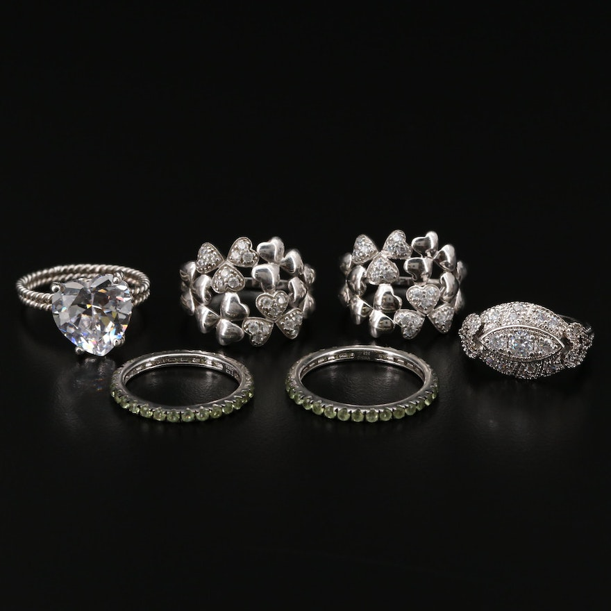 Collection of Sterling Silver Rings with Peridot and Cubic Zirconia