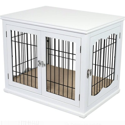 White Painted Wood and Wire Dog Crate End Table with Interior Cushion