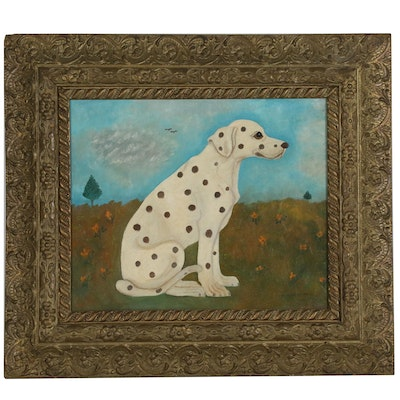 "W.H. Lohmeyer Folk Style Oil Painting of Dog ""Duchess"""