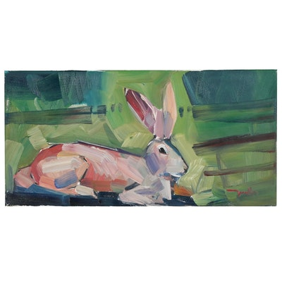 "Jose Trujillo Oil Painting ""The Bunny"", 2019"