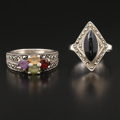 Sterling Rings with Amethyst, Citrine and Onyx