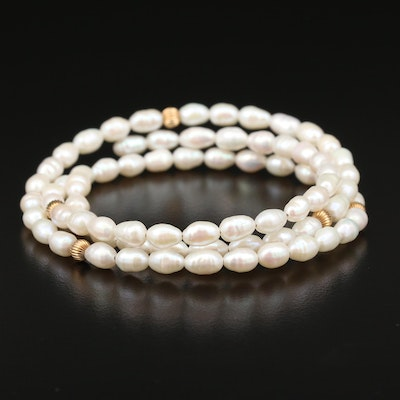 Cultured Pearl Memory Wire Bangle Bracelet With 14K Yellow Gold Accent Beads