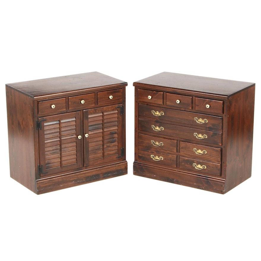 Pair of Ethan Allen Pine Louvered Cabinets