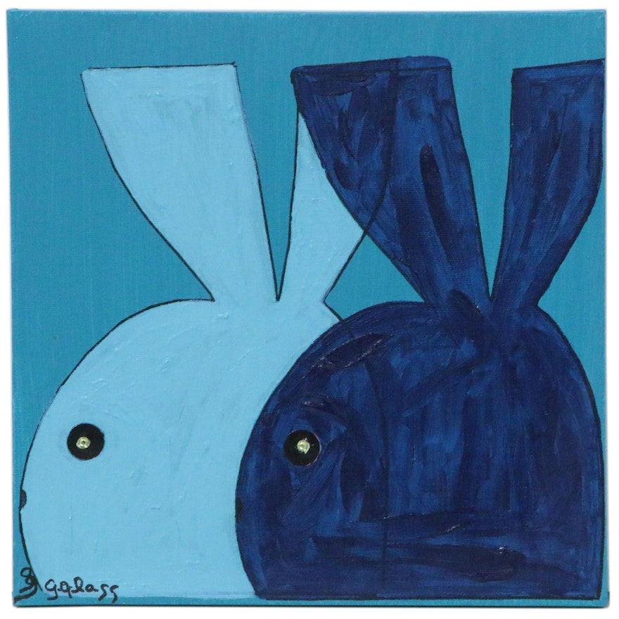 "George Glass Acrylic Painting ""Blue Bunnies"""