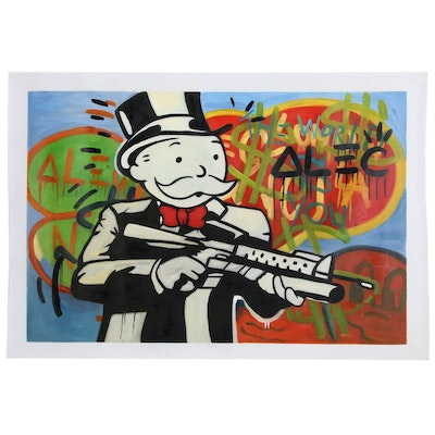 Acrylic Painting over Giclée after Alec Monopoly Street Art