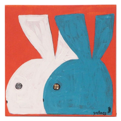 "George Glass Acrylic Painting ""Playboy Bunnies"""