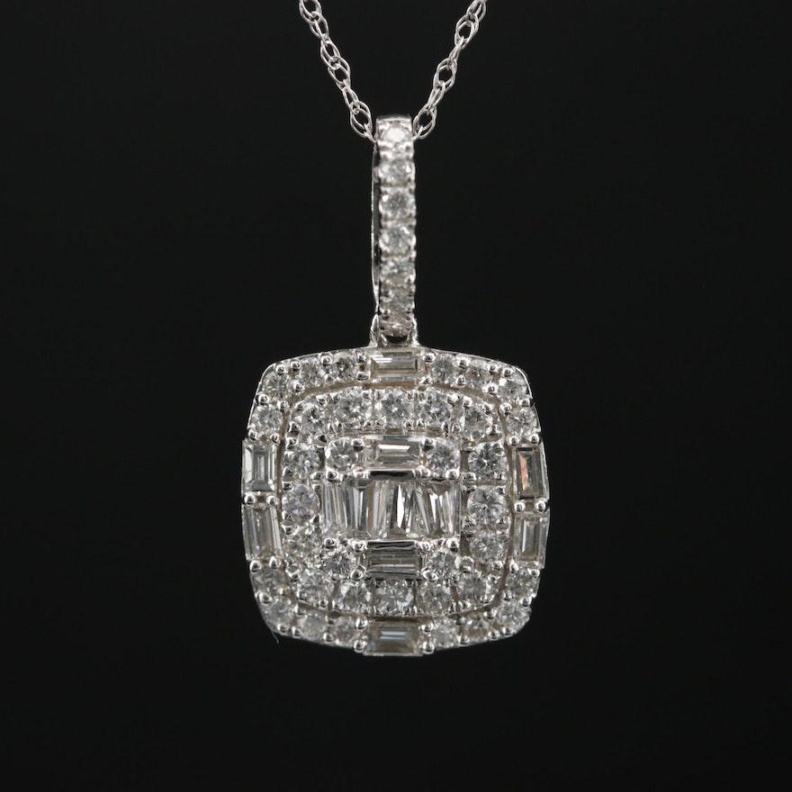 Odelia 18K Gold Diamond Pendant on 14K Gold Singapore Chain Necklace