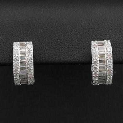 Odelia 18K White Gold Diamond Huggie Earrings