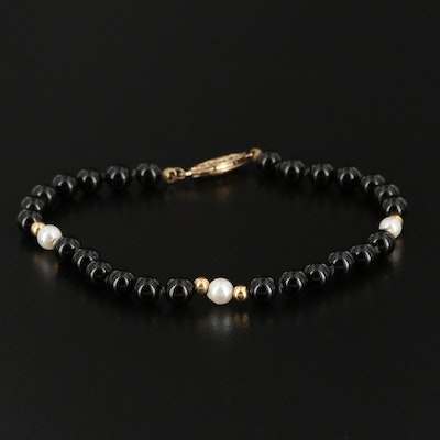 Black Onyx and Pearl Bracelet with 14K Yellow Gold Accent Beads