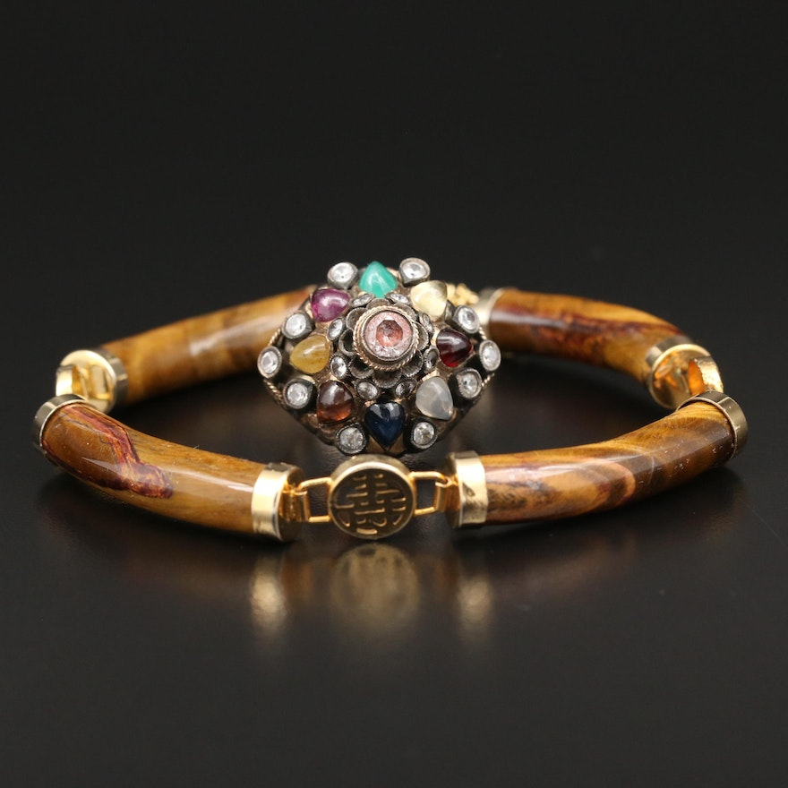 10K Ring with White Topaz, Garnet and Yellow Sapphire and Tiger's Eye Bracelet