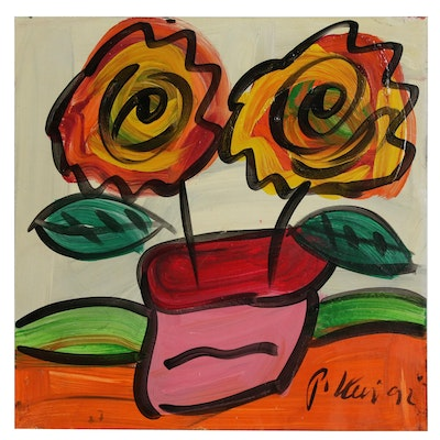 Peter Keil Abstract Oil Painting of Floral Still Life, 1992