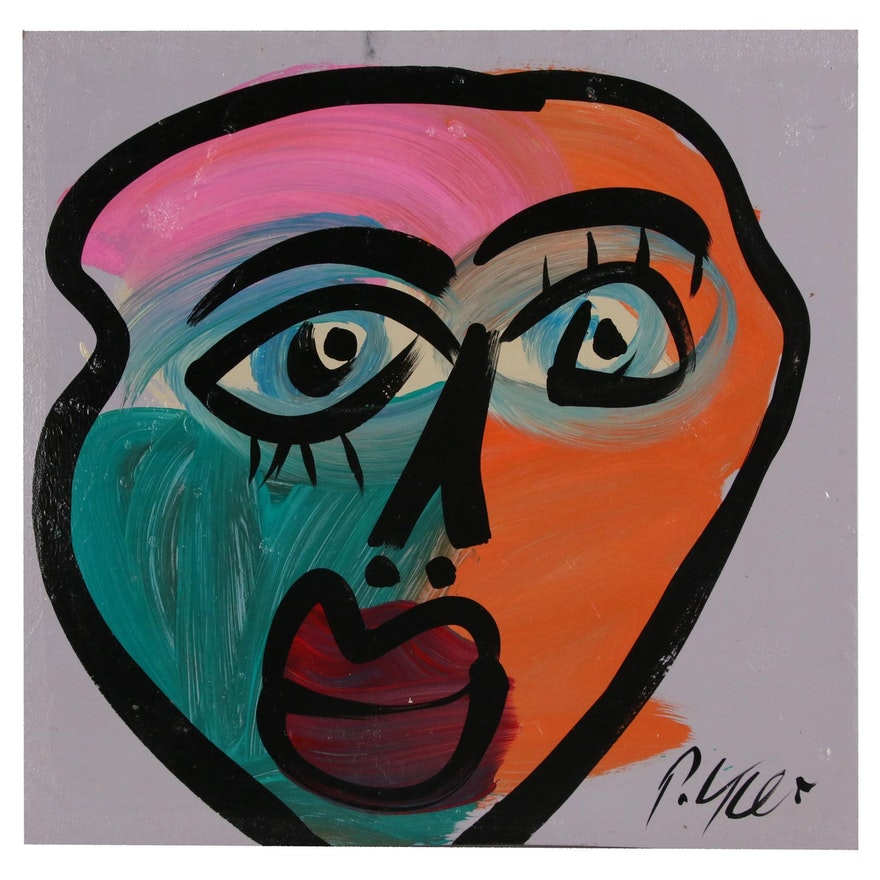 Peter Keil Abstract Oil Portrait, Late 20th Century