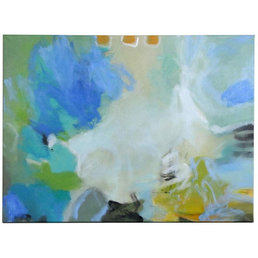 "Lee Hafer Abstract Mixed Media Painting ""Catalina"""