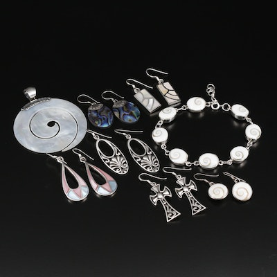 Sterling Silver Jewelry Including Shell, Abalone and Mother of Pearl