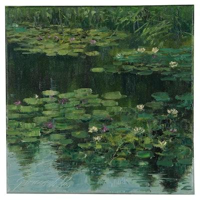 Garncarek Aleksander Oil Painting of Waterlilies