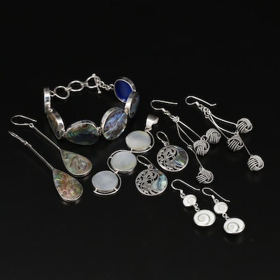 Sterling Bracelet, Pendant and Earrings Featuring Abalone and 800 Silver