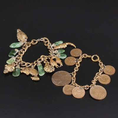 Vintage Jasper Link Bracelet With Canadian and British Coin Bracelet