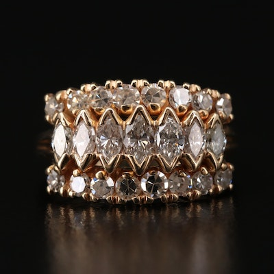 14K Gold 1.50 CTW Diamond Triple Row Ring
