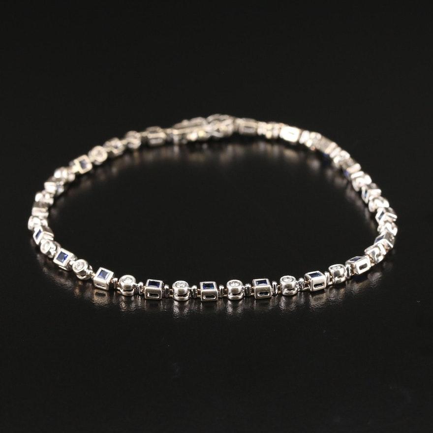 18K Diamond and Sapphire Link Bracelet