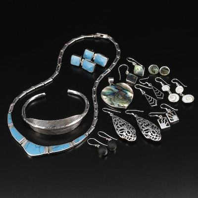 Sterling Silver Jewelry with Abalone, Shell and Turquoise