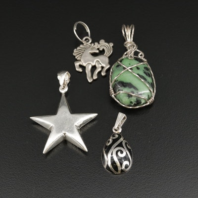 Sterling Pendants with Fuchsite and Resin Including Horse Charm