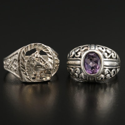 Sterling Amethyst Ring and Horseshoe Ring