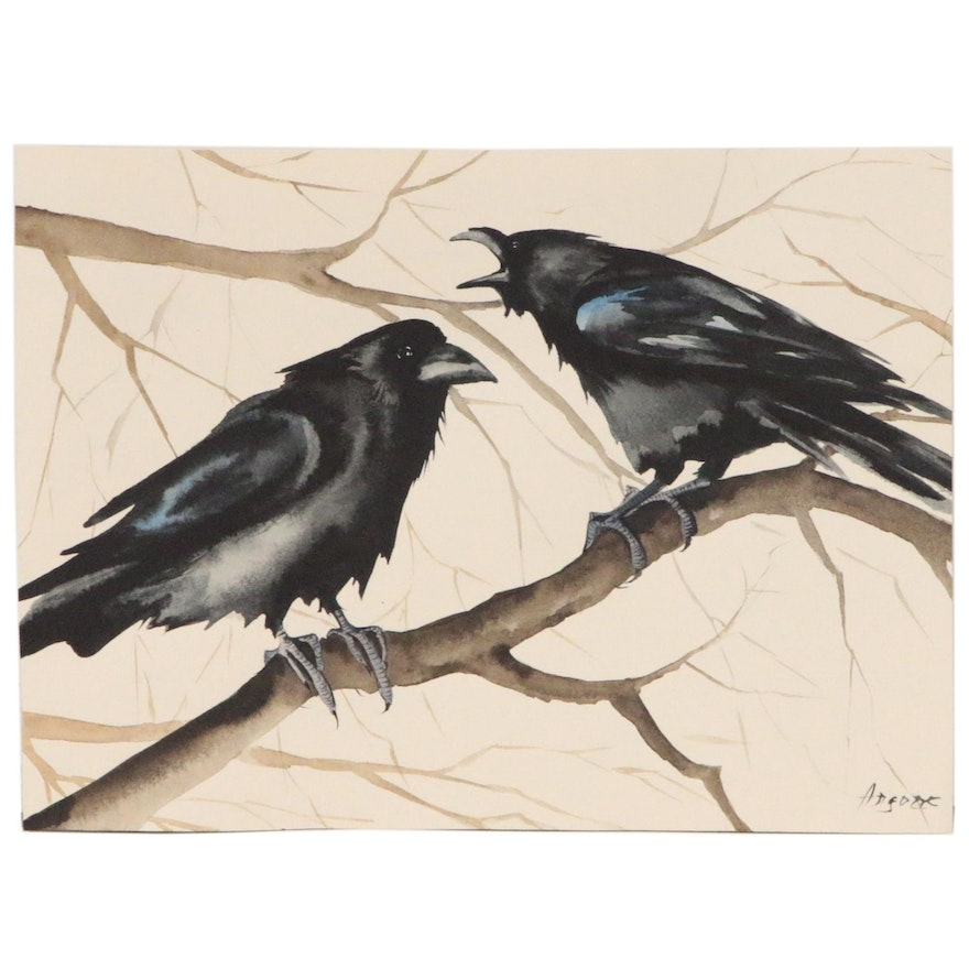 Anne Gorywine Watercolor Painting of Ravens
