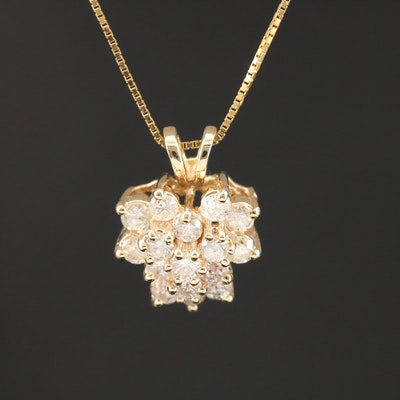 14K Gold 1.00 CTW Diamond Cluster Pendant Necklace