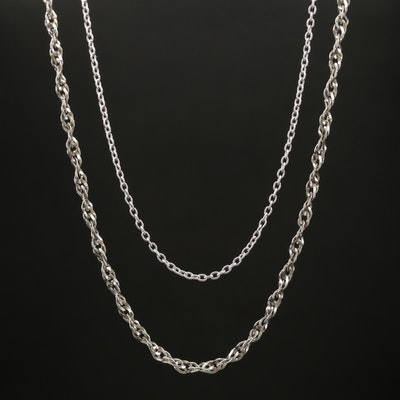 Sterling Silver Pearl Cable Link Chain and Rope Link Chain
