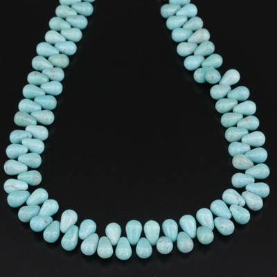 Southwestern Style Beaded Turquoise Necklace With Sterling Silver Clasp