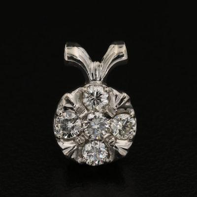 14K White Gold Diamond Cluster Pendant