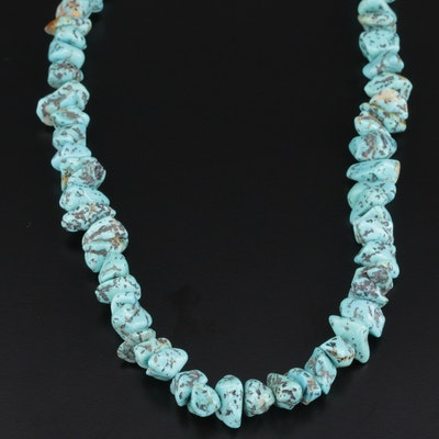 Southwestern Style Beaded Turquoise Necklace With Sterling Silver