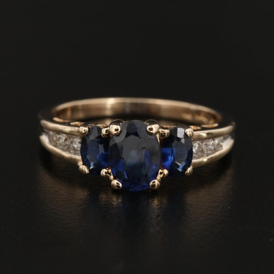14K Gold Synthetic Sapphire Ring with Diamond Accents