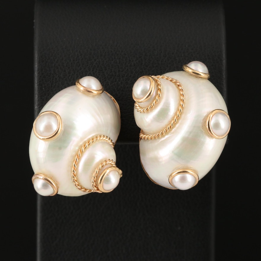 Maz 14K Yellow Gold Shell and Cultured Pearl Earrings