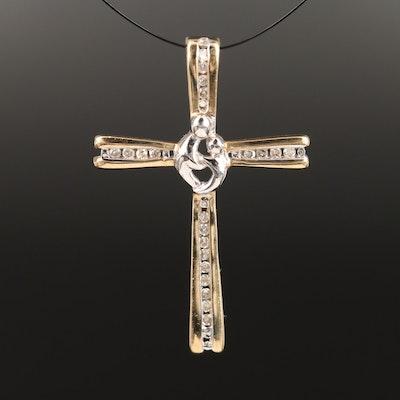 10K Yellow and White Gold Diamond Cross Pendant