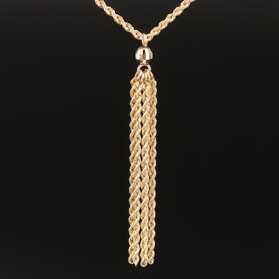 14K Yellow Gold Rope Chain Necklace With Tassel Pendant