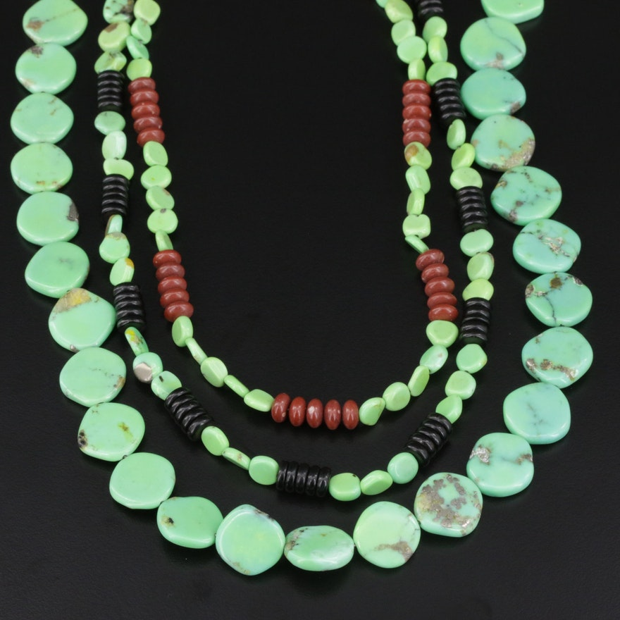 Beaded Gaspeite and Jasper Necklaces with Sterling Silver Clasps