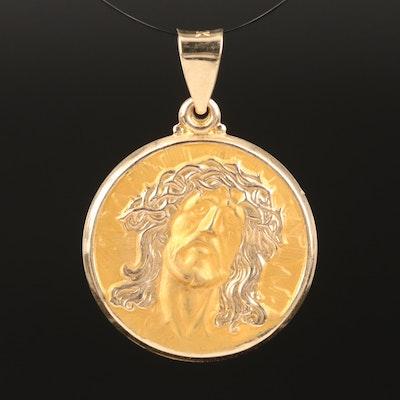 14K Yellow Gold Jesus Medallion Pendant