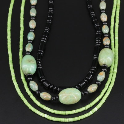 Beaded Green Turquoise and Black Onyx Necklaces with Sterling Clasps