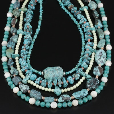 Beaded Turquoise, Coral, and Jasper Necklaces with Sterling Silver Clasps