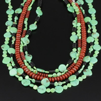 Southwestern Style Beaded Necklaces Featuring Sterling Silver and Gaspeite