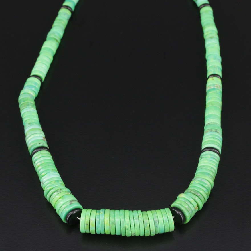 Graduated Beaded Turquoise Necklace With Sterling Silver Clasp