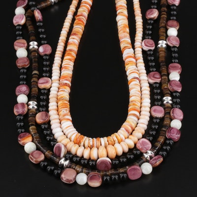 Assorted Heishi and Beaded Necklaces Featuring Sterling Silver, Shell and Horn
