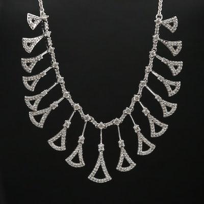 10K Gold 1.50 CTW Diamond FringeNecklace