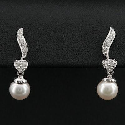 14K Gold Pearl and Diamond Drop Earrings