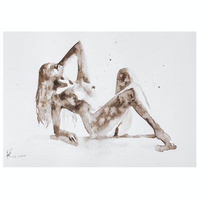 Anton Perepelitsa Watercolor Painting of Female Nude