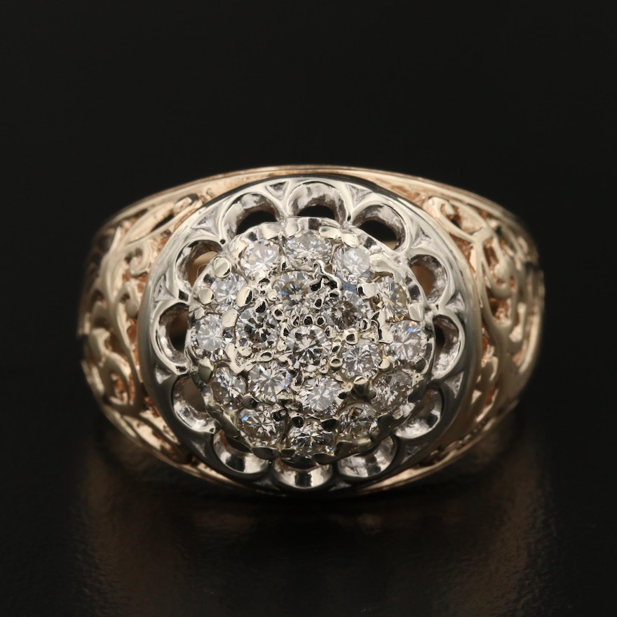 10K White and Yellow Gold 0.88 CTW Diamond Dome Ring