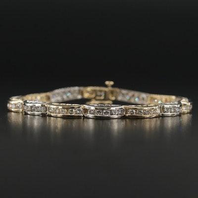 14K Yellow and White Gold 3.75 CTW Diamond Line Bracelet
