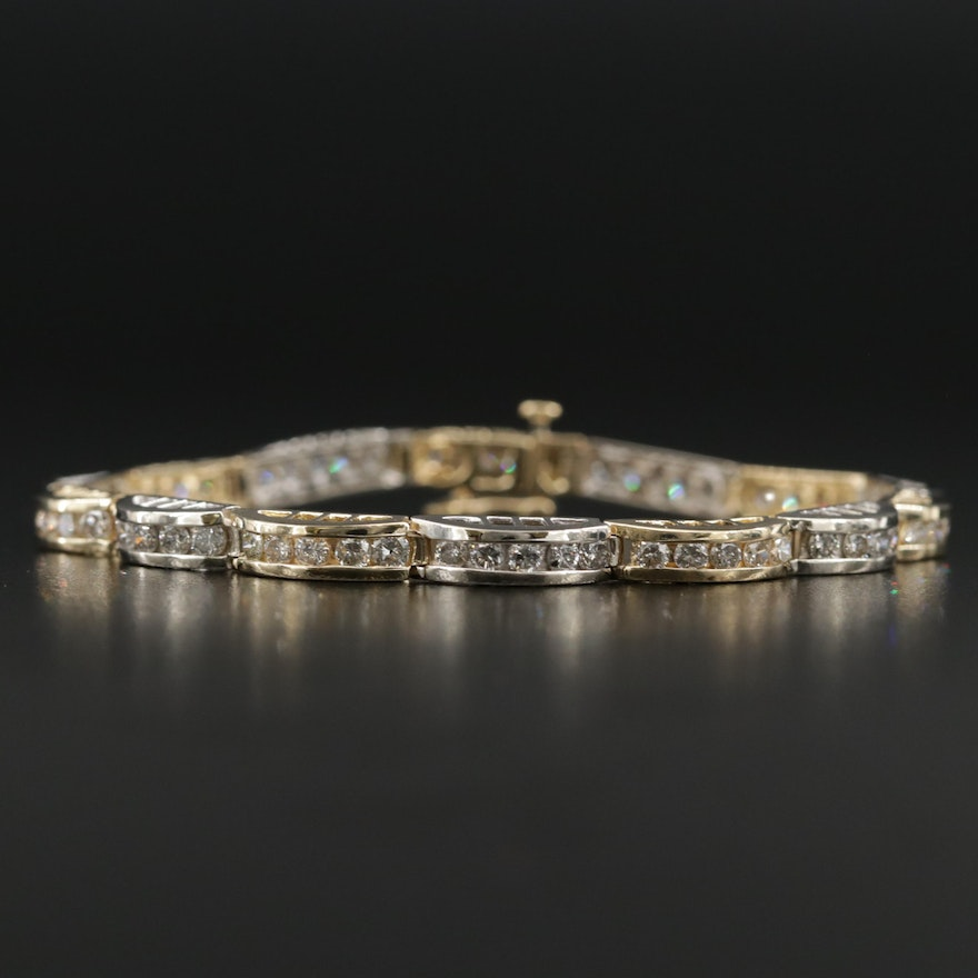 14K Yellow and White Gold 3.75 CTW Diamond Line Bracelet